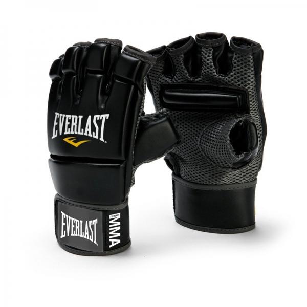 Перчатки для единоборств Everlast MMA Kickboxing4402BИзготовленные по оригинальному дизайну перчатки MMA Kickboxing Gloves от Everlast обеспечивают повышенную защиту пальцев и костяшек при выполнении тренировок. Удлиненная манжета надежно фиксируется на запястье с помощью застежки на липучке, позволяя подгонять перчатку под ваш размер. Внутренняя поверхность выполнена из сетчатой ткани, которая благодаря технологиям EverFresh™ и EverCool™ обеспечивает эффективную вентиляцию. Дополнительный комфорт достигается за счет специальной планки, расположенной на ладони.Профессиональные перчатки MMA Kickboxing Gloves для кикбоксинга изготовлены из первоклассного кожзаменителя, что гарантирует износостойкость и долговечность. Они оптимально подходят для работы с тайскими подушками и тяжелыми мешками.