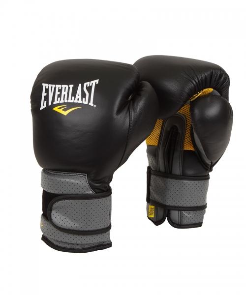Боксерские перчатки Everlast Pro Leather Strap, цвет: черный. Вес 16 унций перчатки тренировочные everlast pro style elite цвет черный 16 унций