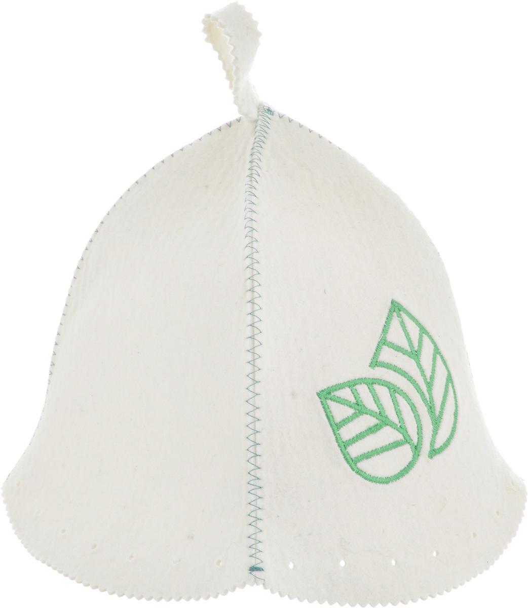 """Шапка для бани и сауны Доктор Баня """"Классическая. Листок"""",  изготовленная из войлока (100% шерсть), станет незаменимым аксессуаром  для любителей попариться в русской бане и для тех, кто  предпочитает сухой жар финской бани. Шапка оформлена  вышивкой в виде листов. Шапка защитит от головокружения в бане и перегрева головы, а  также предотвратит ломкость волос. С помощью специальной  петельки шапку удобно вешать на крючок в предбаннике.   Такая шапка станет отличным подарком для любителей  отдыха в бане или сауне.  Высота шапки: 26 см.  Диаметр шапки по нижнему краю: 76 см."""