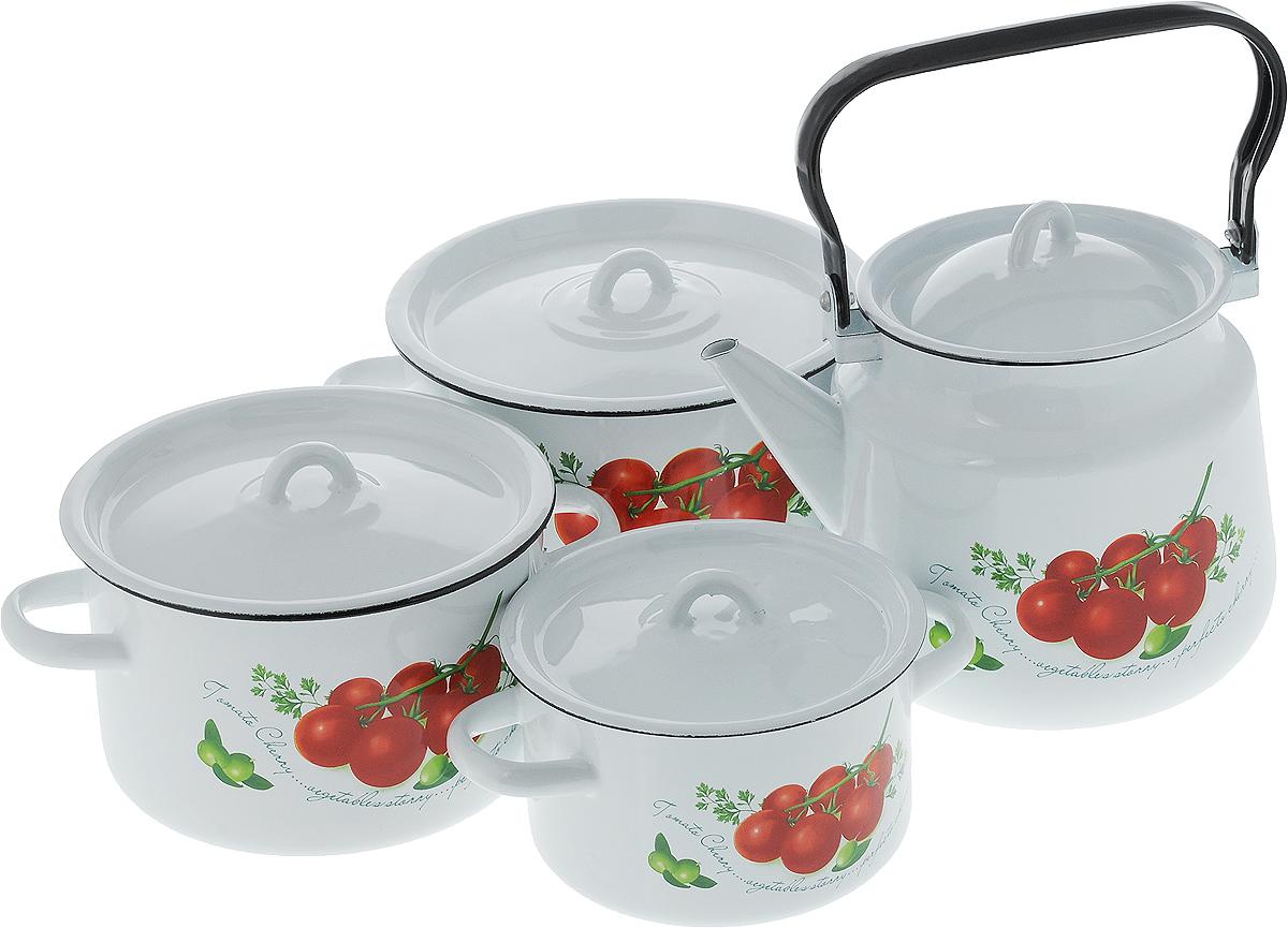 Набор посуды СтальЭмаль Томаты, 8 предметов1с142/1Набор посуды СтальЭмаль Томаты, состоящий из трех кастрюль и чайника с крышками, изготовлен из высококачественной стали с эмалированным покрытием и оформлен изображением томатов.Эмалевое покрытие, являясь стекольной массой, не вызывает аллергии и надежно защищает пищу от контакта с металлом. Внутренняя поверхность идеально ровная, что значительно облегчает мытье. Покрытие устойчиво к механическому воздействию, не царапается и не сходит, а стальная основа практически не подвержена механической деформации, благодаря чему срок эксплуатации увеличивается. Кастрюли и чайник оснащены крышками, выполненными из стали с эмалированным покрытием. Крышки плотно прилегают к краям кастрюль, предотвращая проливание жидкости и сохраняя аромат блюд, и имеют удобные пластиковые ручки. Подходят для всех типов плит, включая индукционные. Можно мыть в посудомоечной машине. Высота стенок кастрюль: 9,5 см, 11,5 см, 12,5 см. Диаметр кастрюль (по верхнему краю): 16 см, 19 см, 21 см.Ширина кастрюль (с учетом ручек): 21 см, 25 см, 27,5 см.Объем кастрюль: 1,5 л, 2,9 л, 3,9 л. Высота чайника (без учета крышки): 16,5 см. Диаметр чайника (по верхнему краю): 15 см. Объем чайника: 3,5 л.