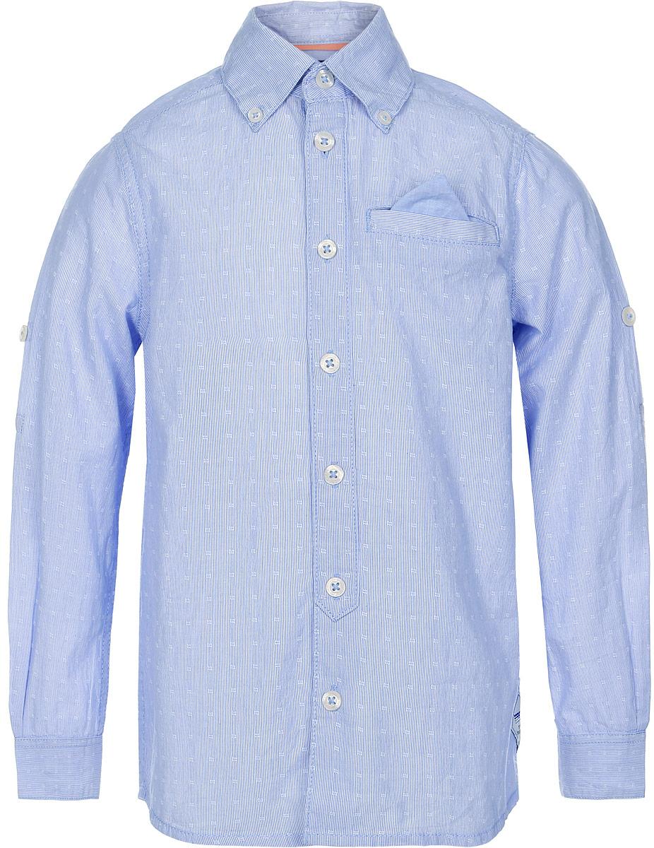 Рубашка для мальчика Tom Tailor, цвет: синий. 2032942.00.82_1000. Размер 92/982032942.00.82_1000Рубашка для мальчика Tom Tailor выполнена из натурального хлопка. Модель с отложным воротником и длинными рукавами застегивается на пуговицы. Спереди изделие дополнено имитацией прорезного кармана с платочком.