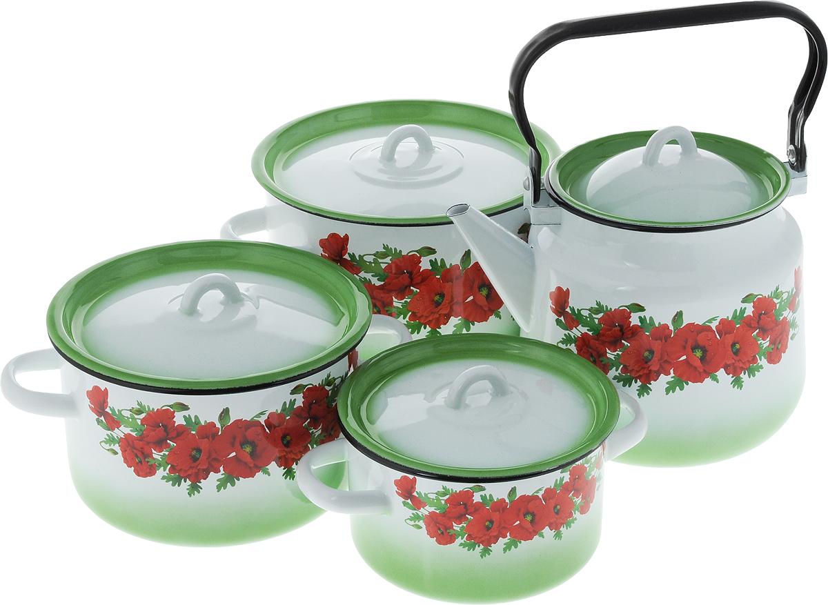 Набор посуды СтальЭмаль Восточный мак, 8 предметов1с142/1Набор посуды СтальЭмаль Восточный мак, состоящий из трех кастрюль и чайника с крышками, изготовлен из высококачественной стали с эмалированным покрытием и оформлен изображением маков.Эмалевое покрытие, являясь стекольной массой, не вызывает аллергии и надежно защищает пищу от контакта с металлом. Внутренняя поверхность идеально ровная, что значительно облегчает мытье. Покрытие устойчиво к механическому воздействию, не царапается и не сходит, а стальная основа практически не подвержена механической деформации, благодаря чему срок эксплуатации увеличивается. Кастрюли и чайник оснащены крышками, выполненными из стали с эмалированным покрытием. Чайник имеет удобную стальную ручку. Подходят для всех типов плит, включая индукционные. Можно мыть в посудомоечной машине. Высота стенок кастрюль: 9,5 см, 11,5 см, 14,5 см. Диаметр кастрюль (по верхнему краю): 16 см, 19 см, 21,5 см.Ширина кастрюль (с учетом ручек): 21 см, 25 см, 28 см.Объем кастрюль: 1,5 л, 2,9 л, 4,5 л. Высота чайника (без учета крышки): 17 см. Диаметр чайника (по верхнему краю): 14 см. Объем чайника: 3,5 л.