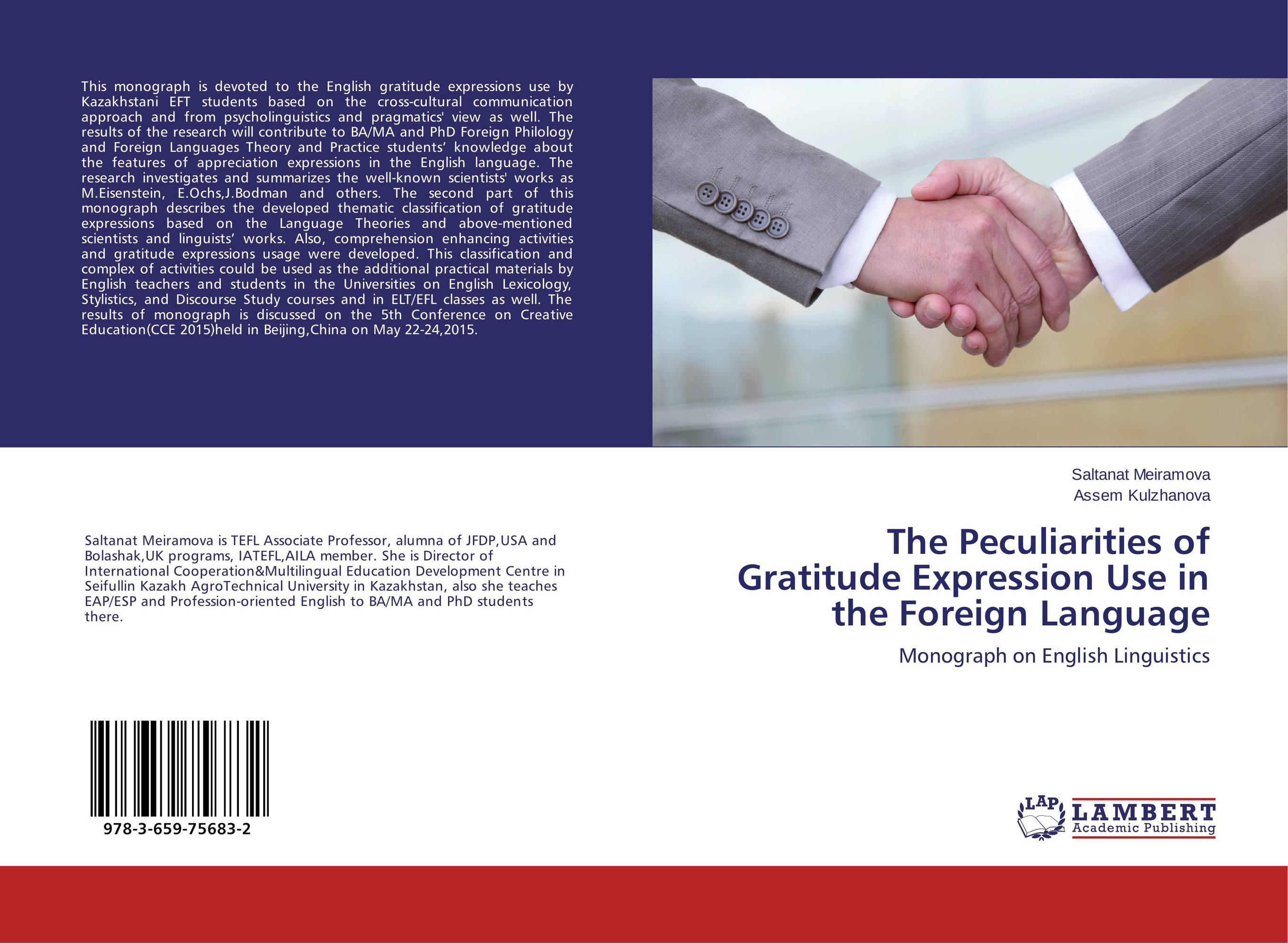 The Peculiarities of Gratitude Expression Use in the Foreign Language sports law in russia monograph