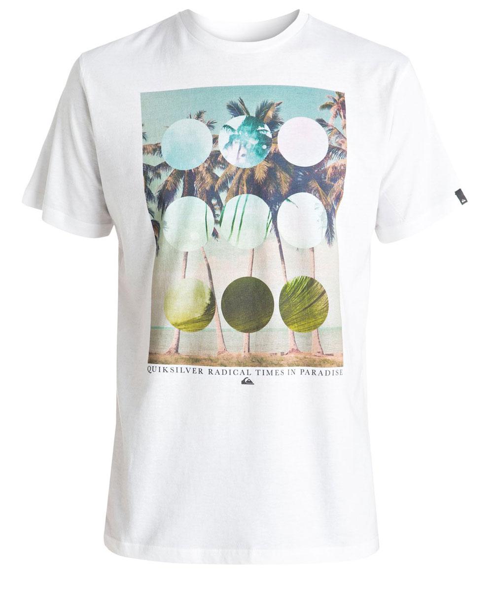 Футболка мужская Quiksilver, цвет: белый. EQYZT04282-WBB0. Размер L (52)EQYZT04282-WBB0Мужская футболка Quiksilver изготовлена из качественного материала. Модель выполнена с круглой горловиной и короткими рукавами.