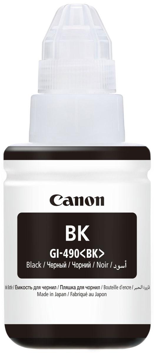 Canon GI-490, Black чернила для Pixma G1400/G2400/G34000663C001Контейнер Canon GI-490 объемом 135 мл с черными водорастворимыми чернилами, предназначенными для печати цветных документов и фотографий.