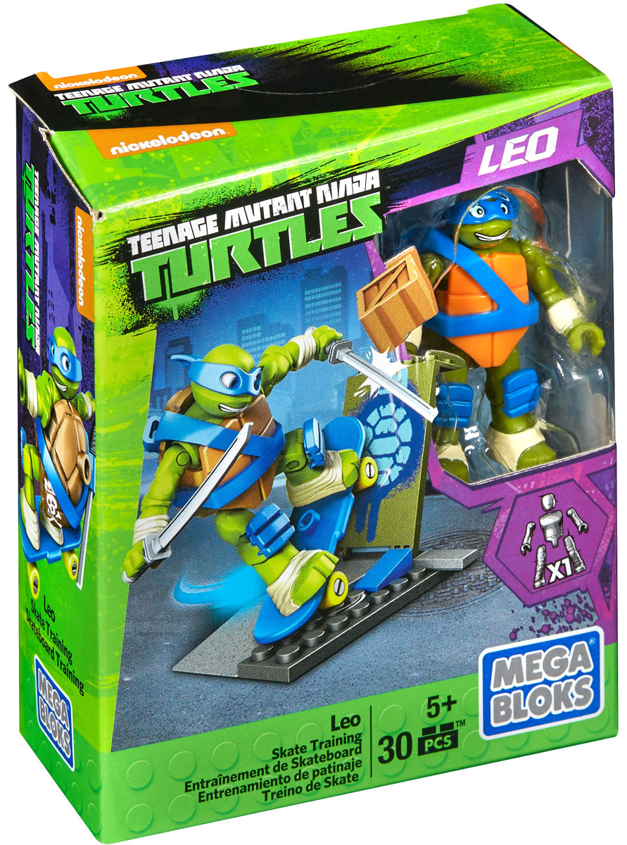 Mega Bloks Черепашки Ниндзя Конструктор Лео и скейтборд черепашки ниндзя набор составного оружия лео