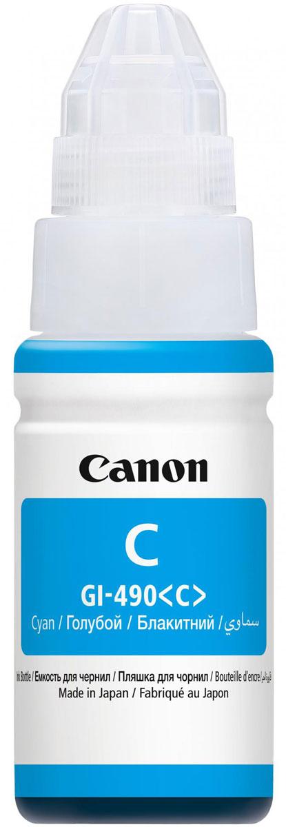 Canon GI-490, Cyan чернила для Pixma G1400/G2400/G34000664C001Контейнер Canon GI-490 объемом 70 мл с голубыми водорастворимыми чернилами, предназначенными для печати цветных документов и фотографий.