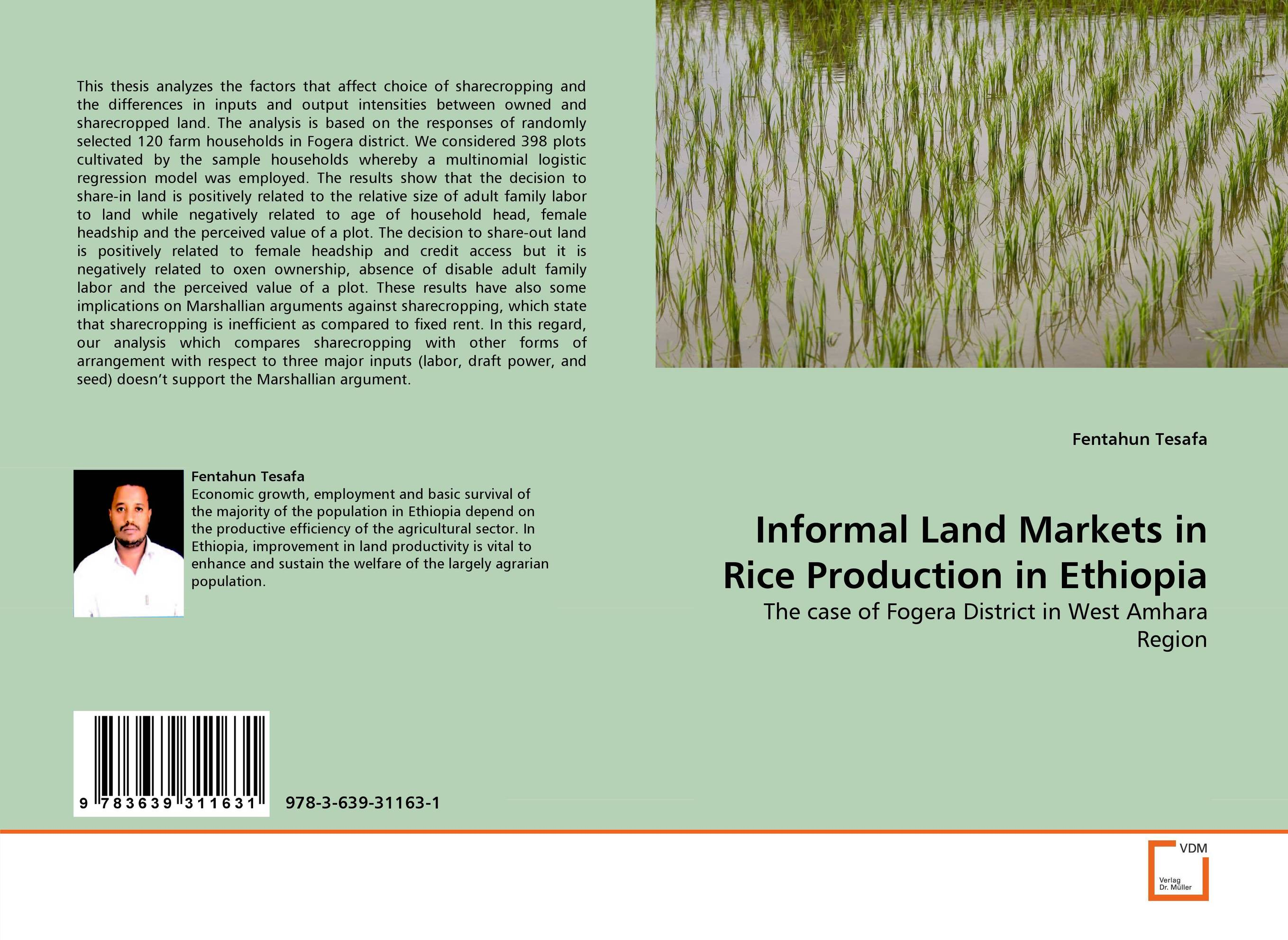 Informal Land Markets in Rice Production in Ethiopia informal land markets in rice production in ethiopia