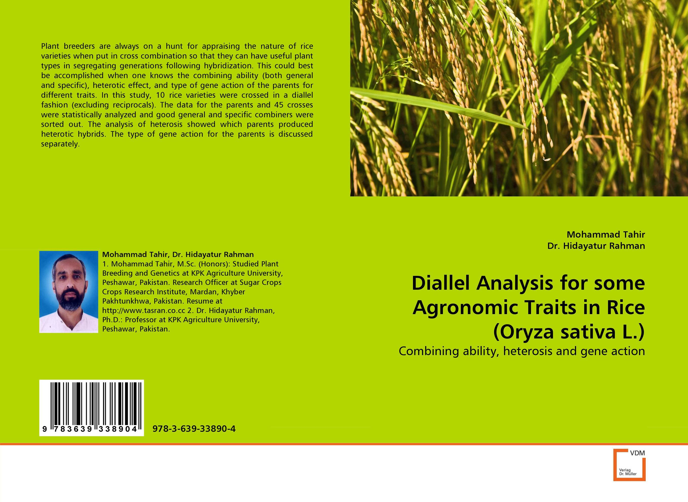 Diallel Analysis for some Agronomic Traits in Rice (Oryza sativa L.) sanjeev kumar kiran pathania and pawan kumar sharma breeding of rice oryza sativa l