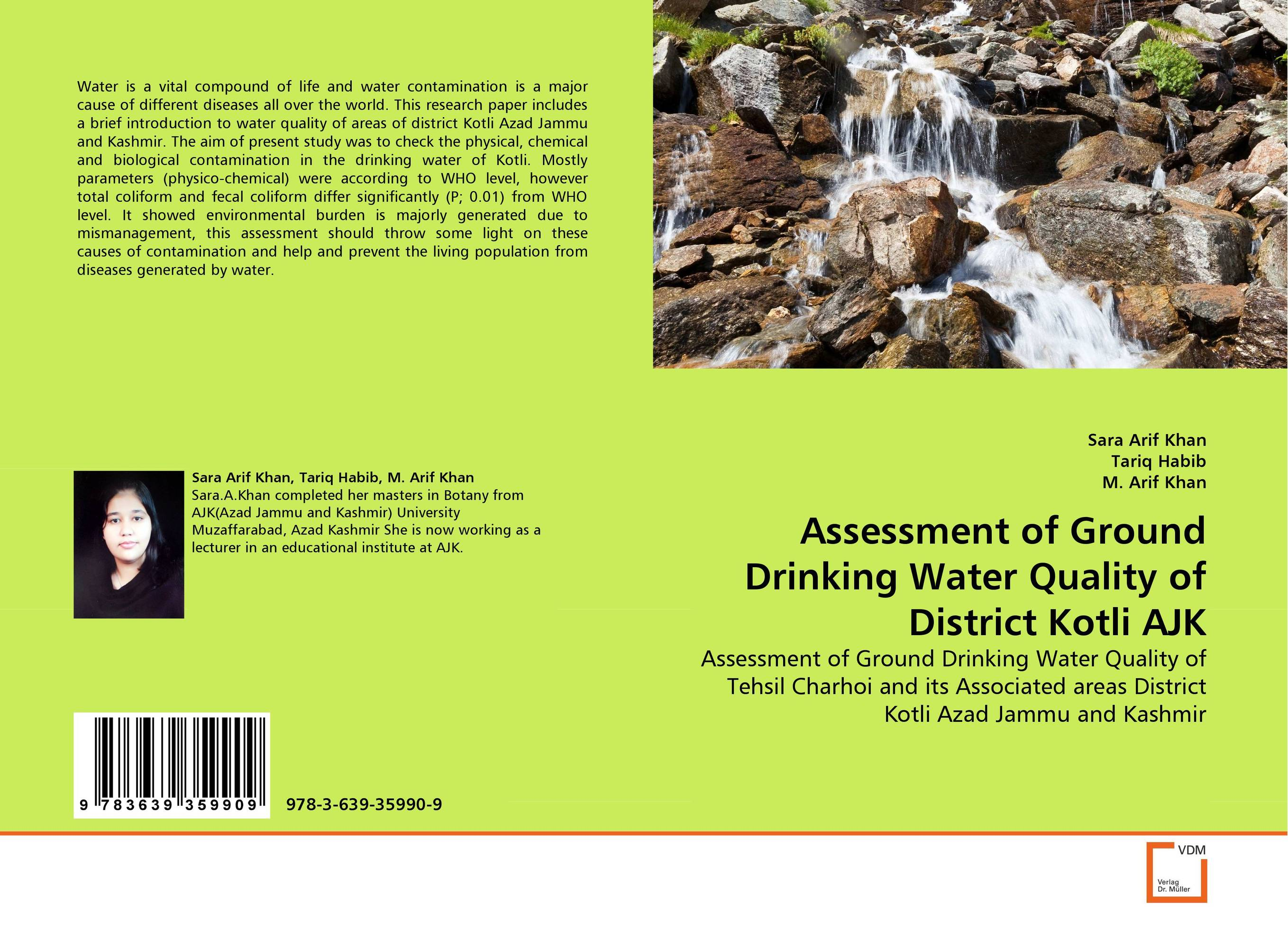 Assessment of Ground Drinking Water Quality of District Kotli AJK use of petri film coliform counts plate to analyse drinking water