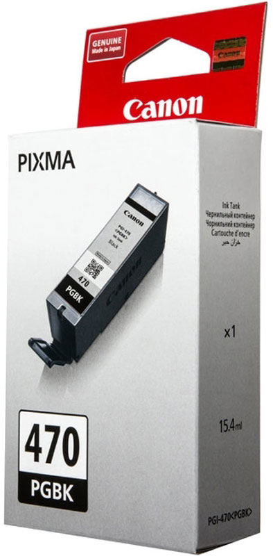 Canon PGI-470, Black картридж для PIXMA MG5740/MG6840/MG77400375C001Оригинальный картридж Canon PGI-470 с оригинальными чернилами гарантирует профессиональный вид печатаемых документов и высокую производительность. Надежная печать без проблем. Точная цветопередача и быстрое высыхание. Для получения красивых и долговечных отпечатков сделайте выбор в пользу чернил Canon.