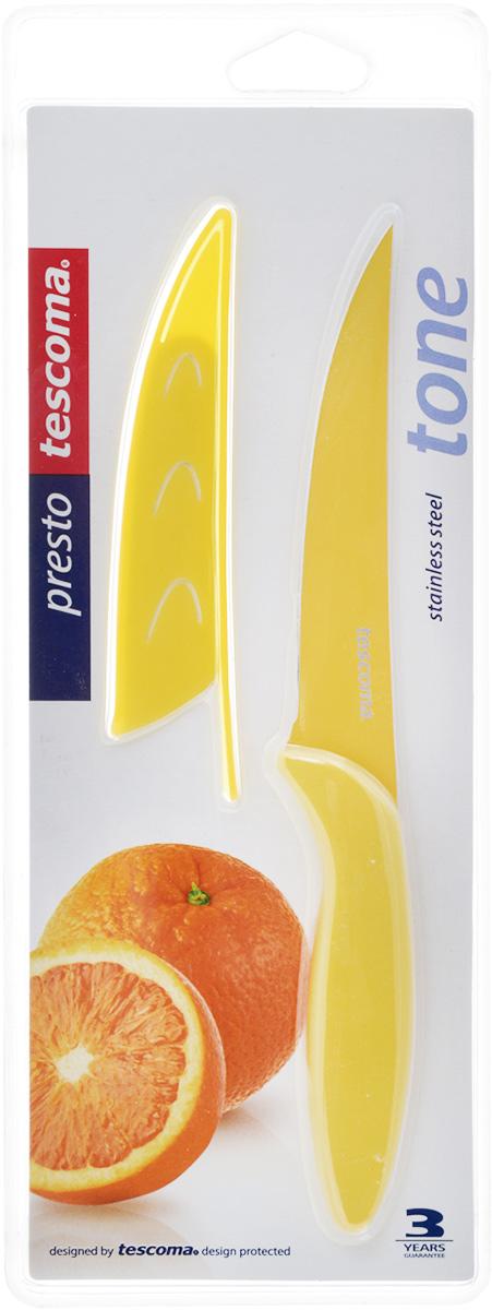 Нож универсальный Tescoma Presto, с чехлом, цвет: желтый, длина лезвия 12 см863082_желтыйУниверсальный нож Tescoma Presto предназначен для нарезки мяса, овощей, фруктов и других продуктов. Лезвие выполнено из высококачественной нержавеющей стали с антиадгезивным покрытием, а ручка из прочного пластика. Продукты не прилипают к лезвию. Изделие легко чиститься. В комплект входит защитный чехол для бережного хранения. Можно мыть в посудомоечной машине, не рекомендуется использовать металлические губки и абразивные чистящие средства. Общая длина ножа: 22,8 см.