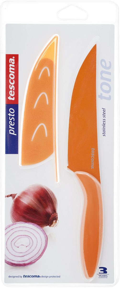 Нож универсальный Tescoma Presto, с чехлом, цвет: оранжевый, длина лезвия 13 см863088_оранжевыйКухонный нож с непристающим лезвием Tescoma Presto, цвет: оранжевыйУниверсальный нож Tescoma Presto предназначен для нарезки мяса, овощей, фруктов и других продуктов. Лезвие выполнено из высококачественной нержавеющей стали с антиадгезивным покрытием, а ручка из прочного пластика. Продукты не прилипают к лезвию. Изделие легко чиститься. В комплект входит защитный чехол для бережного хранения. Можно мыть в посудомоечной машине, не рекомендуется использовать металлические губки и абразивные чистящие средства. Общая длина ножа: 22,8 см.