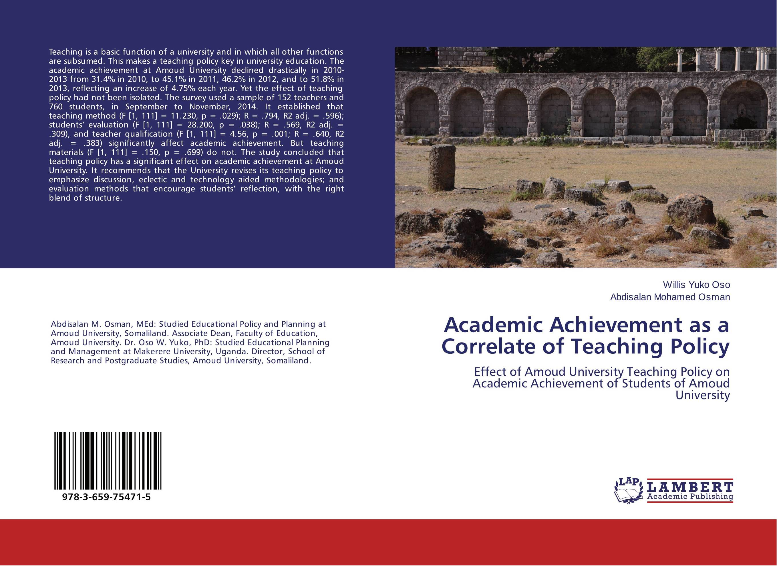 Academic Achievement as a Correlate of Teaching Policy