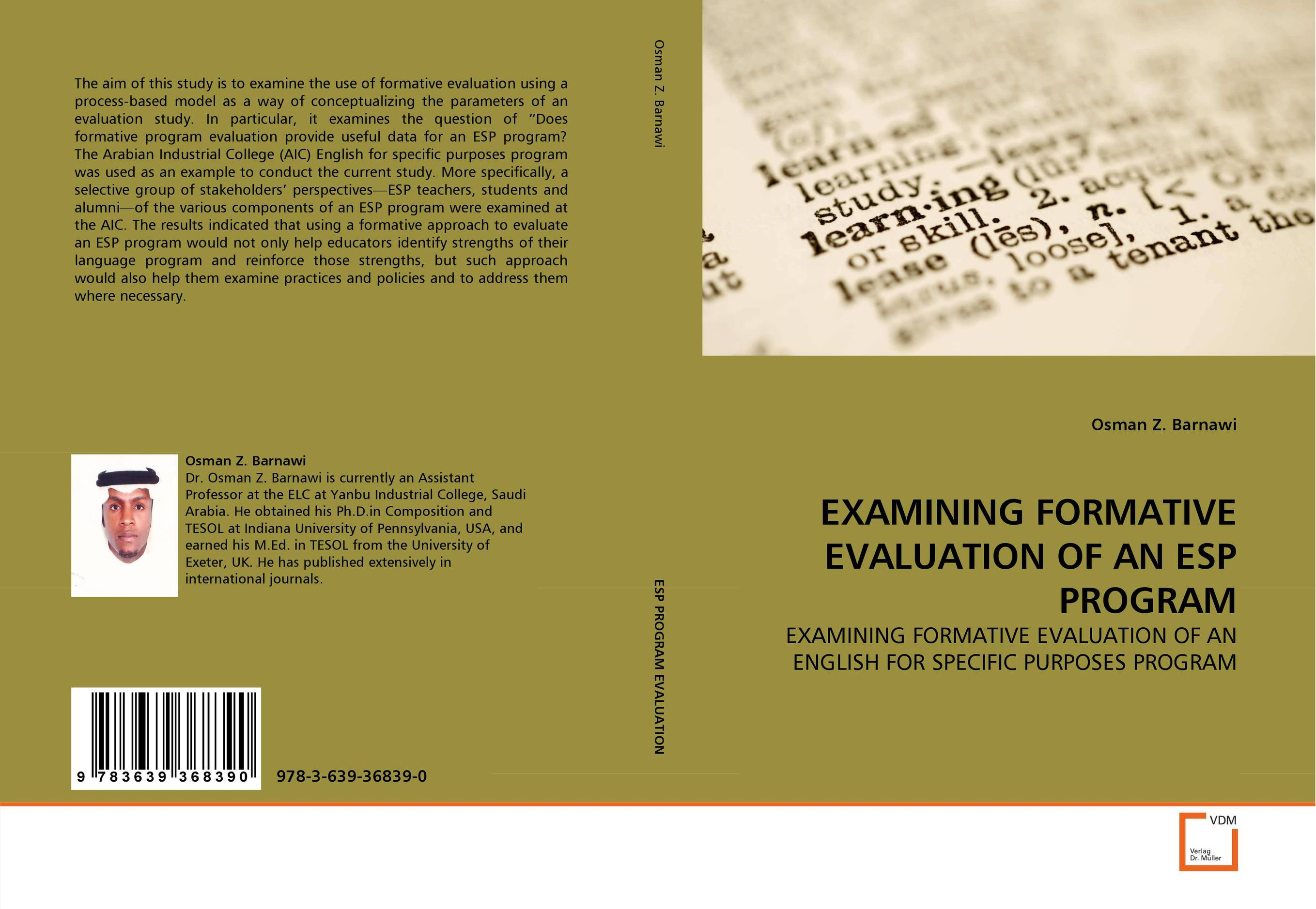 EXAMINING FORMATIVE EVALUATION OF AN ESP PROGRAM the role of evaluation as a mechanism for advancing principal practice