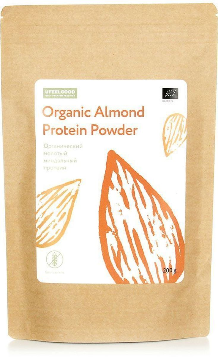 UFEELGOOD Organic Almond Protein Powder органический молотый миндальный протеин, 200 г протеин гороховый 100гр organic