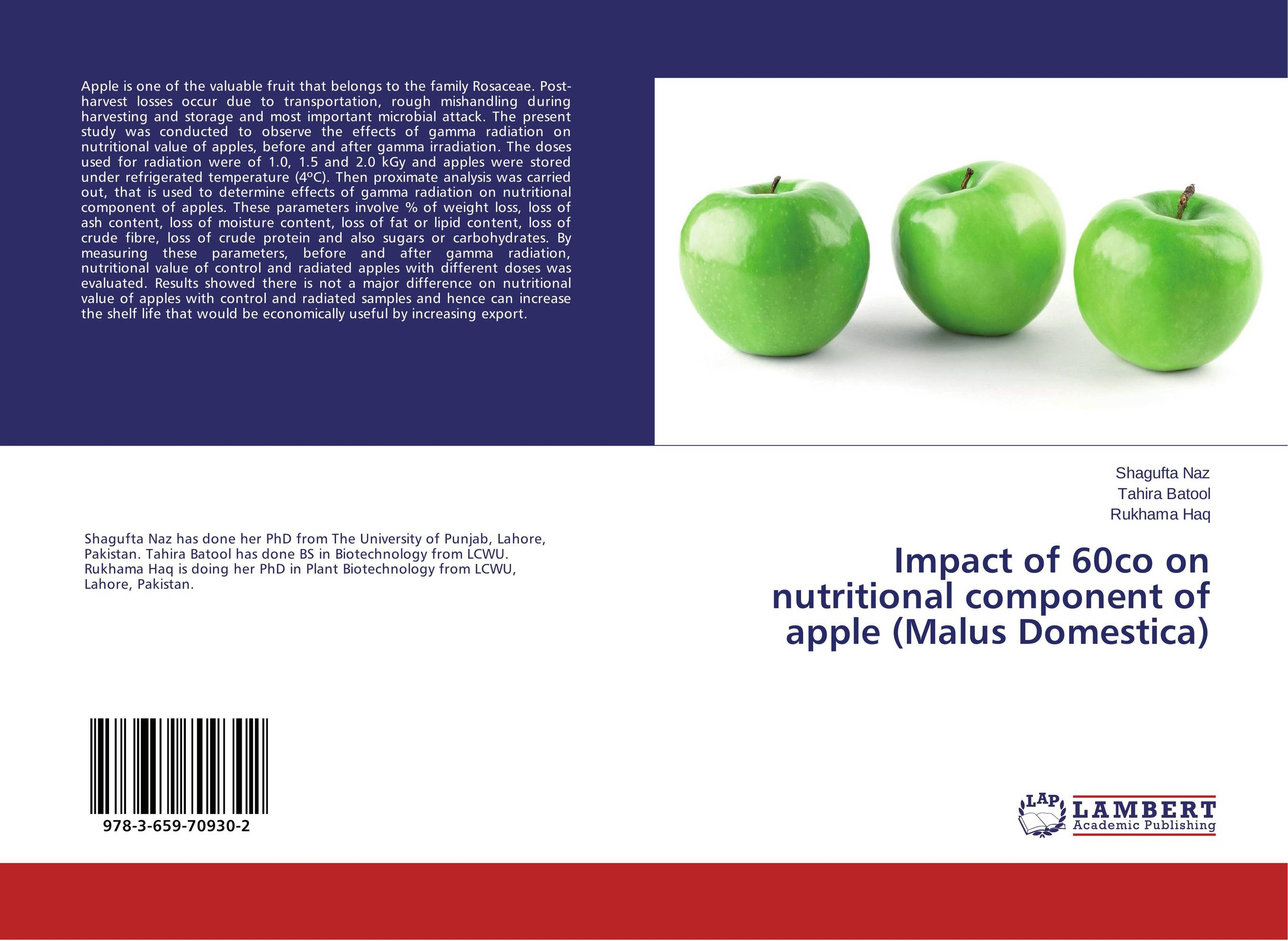 Impact of 60co on nutritional component of apple (Malus Domestica) the golden apples