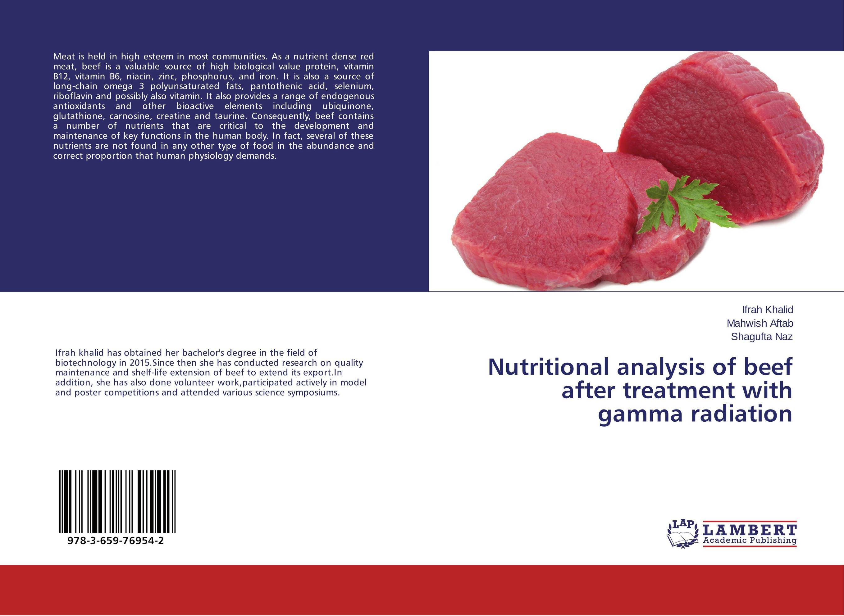 Nutritional analysis of beef after treatment with gamma radiation 100g vitamin b2 riboflavin food grade usa imported