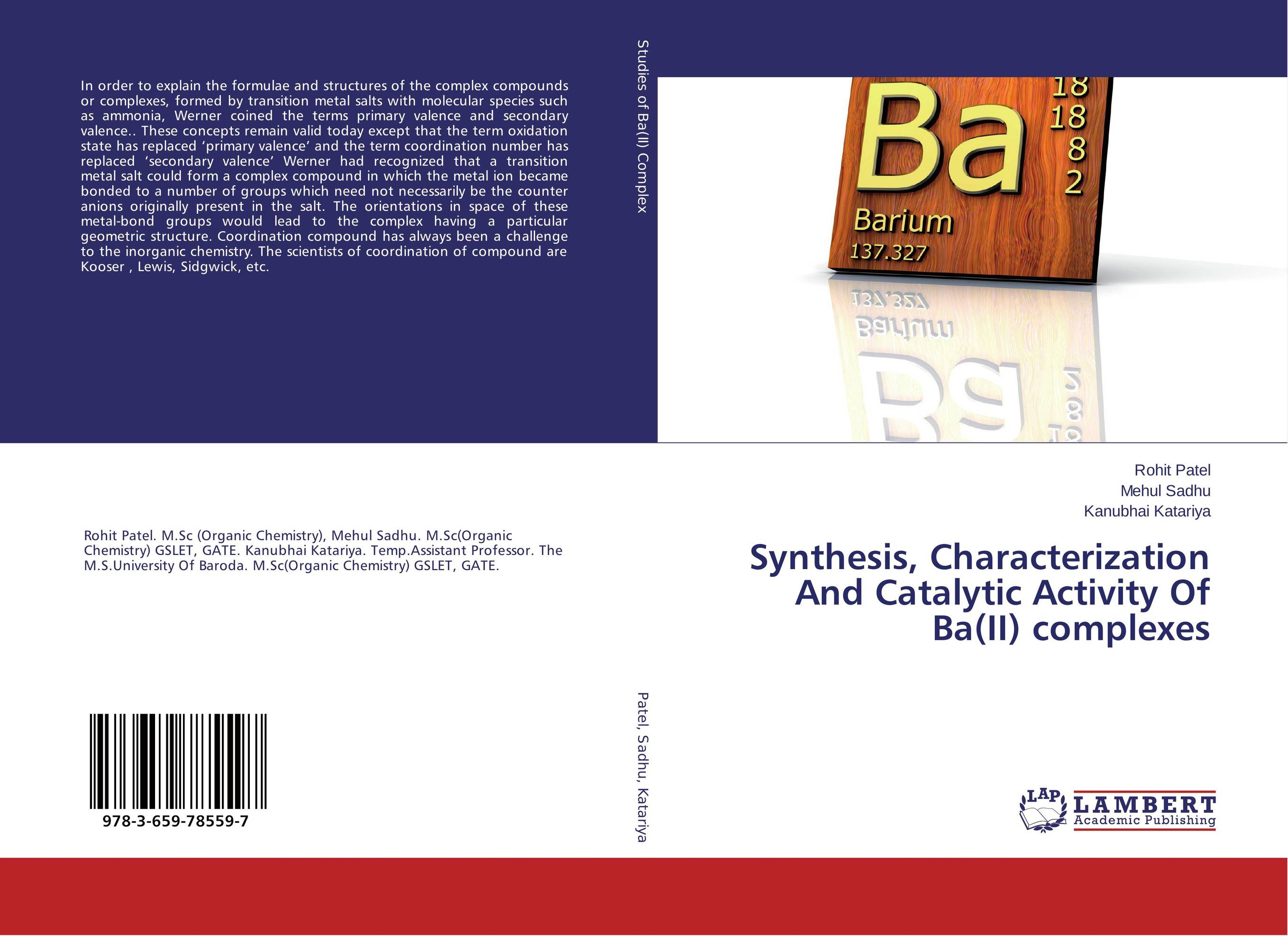 Synthesis, Characterization And Catalytic Activity Of Ba(II) complexes synthesis characterization and applications of nano cdha
