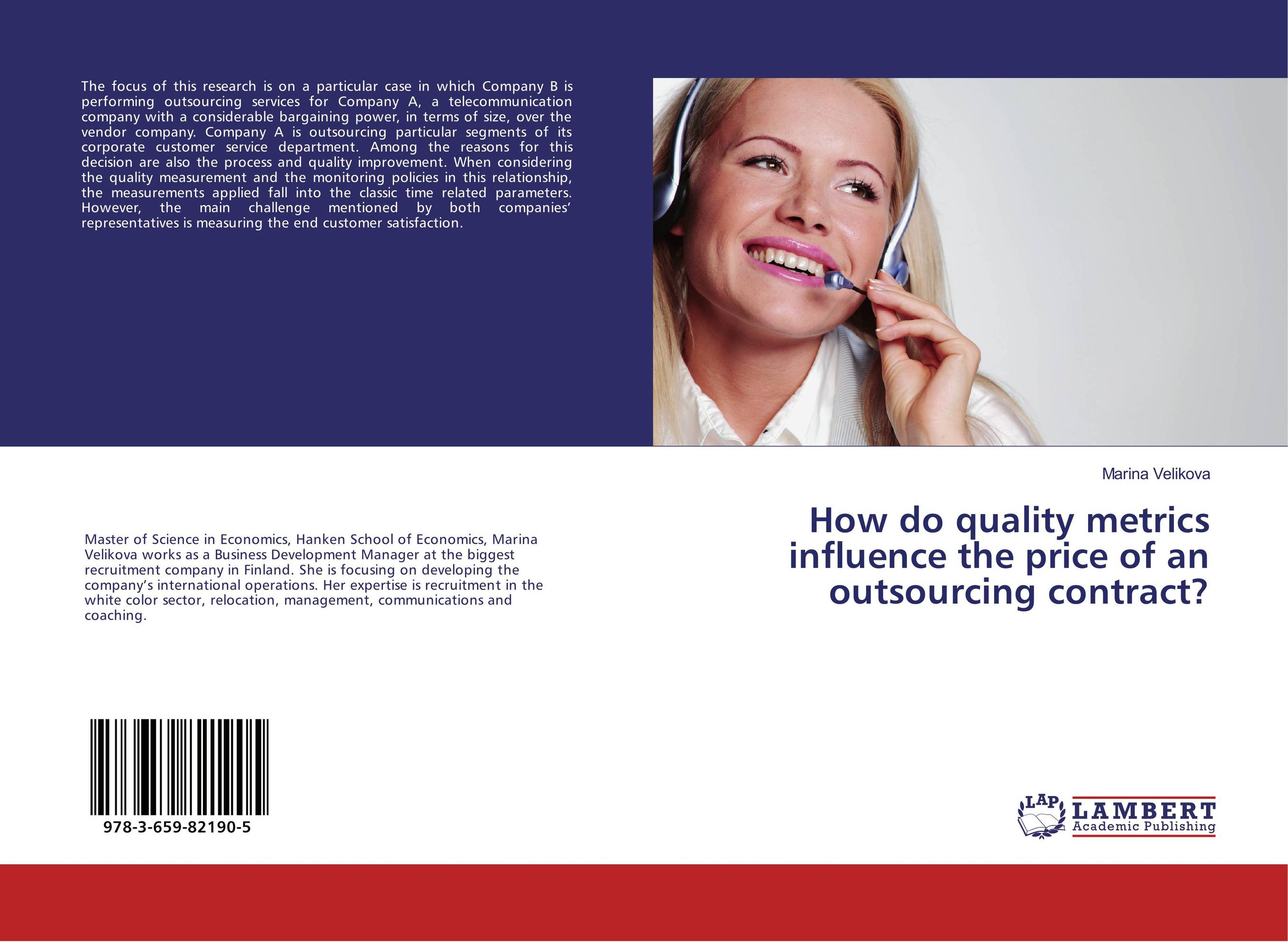 How do quality metrics influence the price of an outsourcing contract?