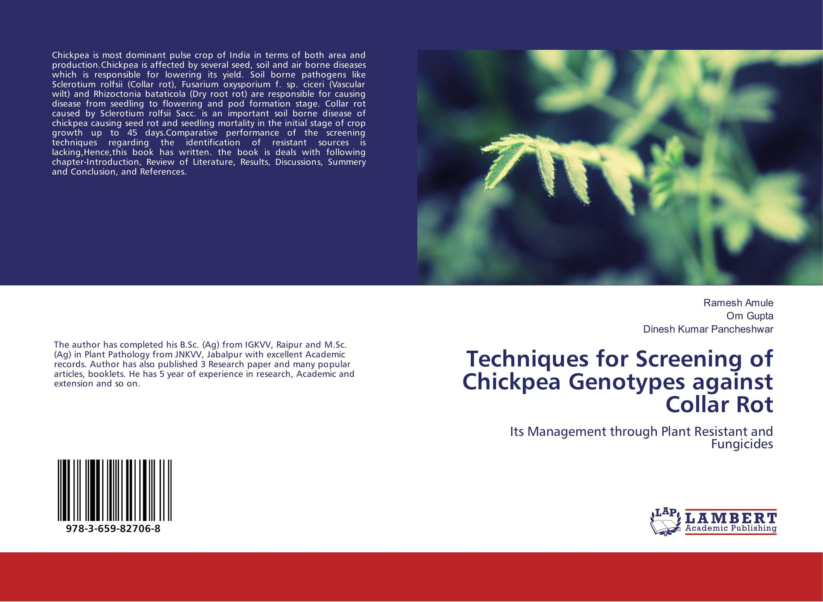 Techniques for Screening of Chickpea Genotypes against Collar Rot h n gour pankaj sharma and rakesh kaushal pathological aspects and management of root rot of groundnut
