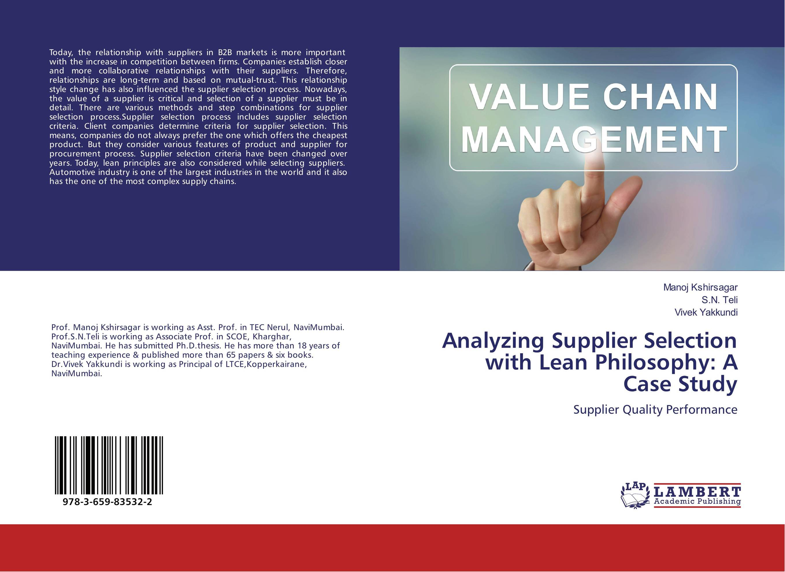 Analyzing Supplier Selection with Lean Philosophy: A Case Study je hewson hewson process instrumentation manifolds – their selection & use – a handbook