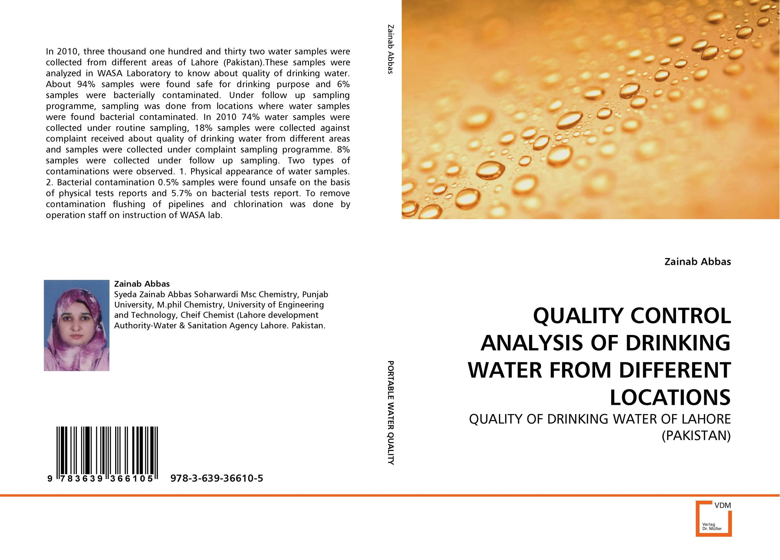 QUALITY CONTROL ANALYSIS OF DRINKING WATER FROM DIFFERENT LOCATIONS analysis of bacterial colonization on gypsum casts