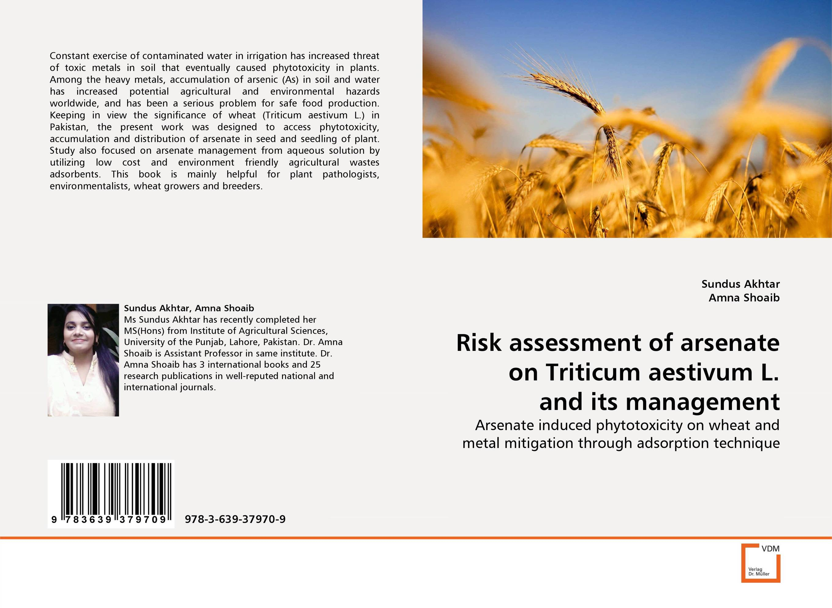 Risk assessment of arsenate on Triticum aestivum L. and its management practical risk assessment for project management