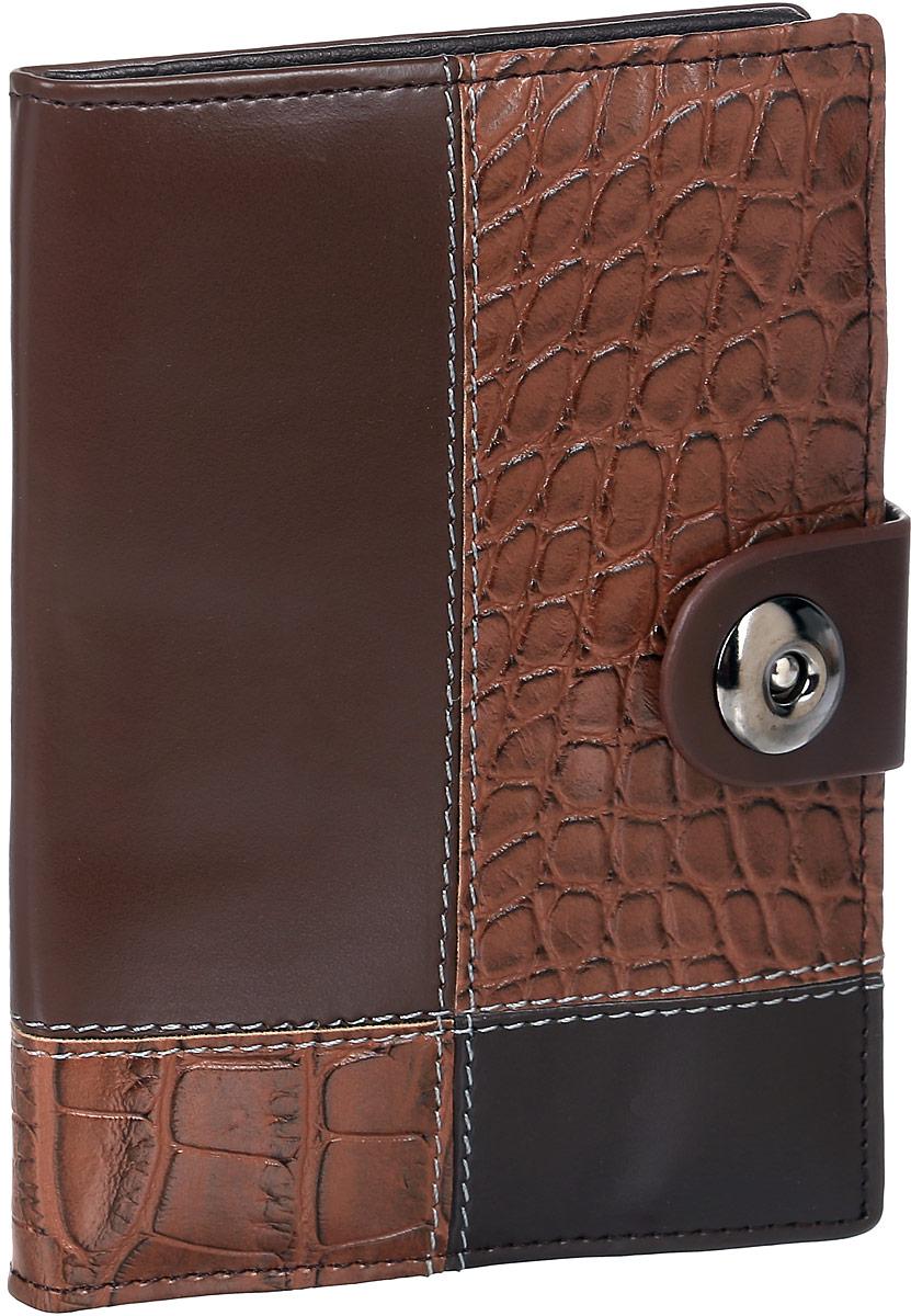 Обложка для автодокументов женская Leighton, цвет: коричневый. 730730 brownЖенская обложка для автодокуметов Leighton выполнена из искусственной кожи. Обложка закрывается на магнитную кнопку. Внутри изделие имеет вкладыш для автодокументов, отделение для паспорта, пять карманов для пластиковых карт.