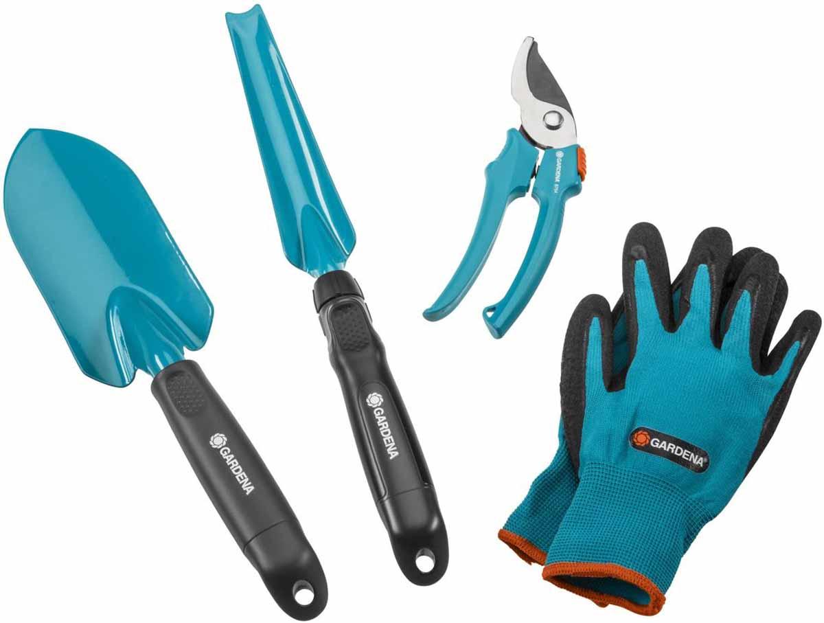 """Набор садовых инструментов """"Gardena"""" включает секатор, лопатку, совок для прополки,  перчатки садовые. Рабочая часть инструментов выполнена из металла со специальным  антикоррозийным покрытием. Рукоятки изготовлены из качественного пластика. Также на  рукоятках имеются специальные отверстия для подвешивания.  Инструменты в комплекте предназначены для прополки сорняков, высадки, пересадки и обрезки  растений."""