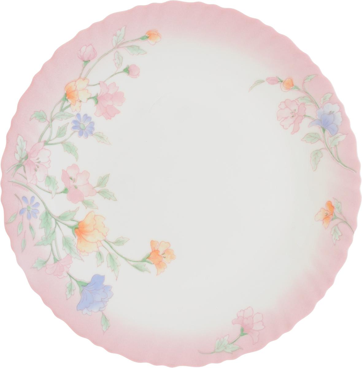 """Тарелка обеденная Luminarc """"Elise"""", декорированная нежным цветочным рисунком, изготовлена из высококачественного ударопрочного стекла. Изделие устойчиво к повреждениям и истиранию, в процессе эксплуатации не впитывает запахи и сохраняет первоначальные краски. Посуда Luminarc обладает не только высокими техническими характеристиками, но и красивым эстетичным дизайном. Luminarc - это современная, красивая, практичная столовая посуда. Такая тарелка идеально подходит для красивой сервировки вторых блюд. Можно мыть в посудомоечной машине."""