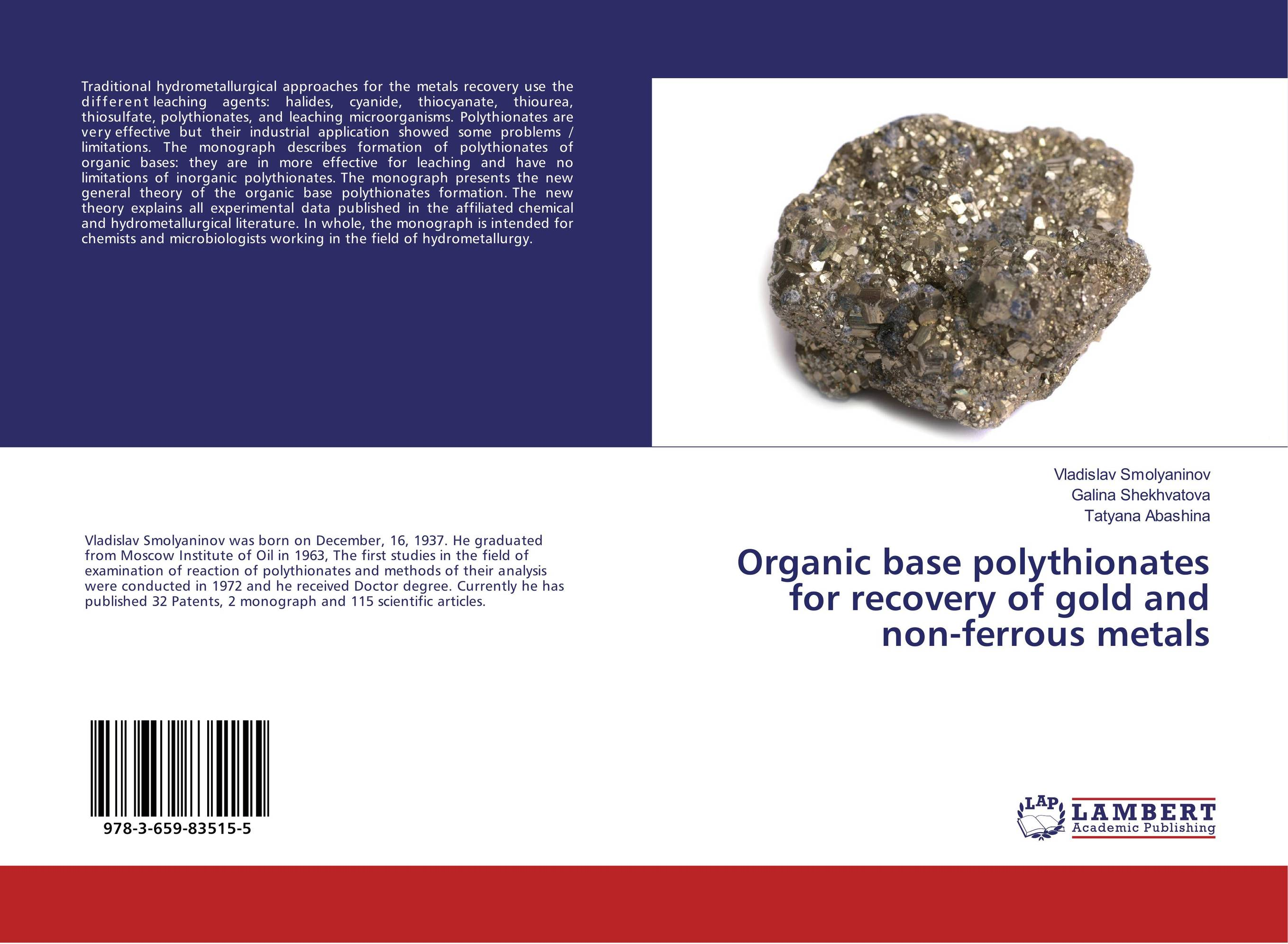 Organic base polythionates for recovery of gold and non-ferrous metals recovery of metals from sludges and wastewaters