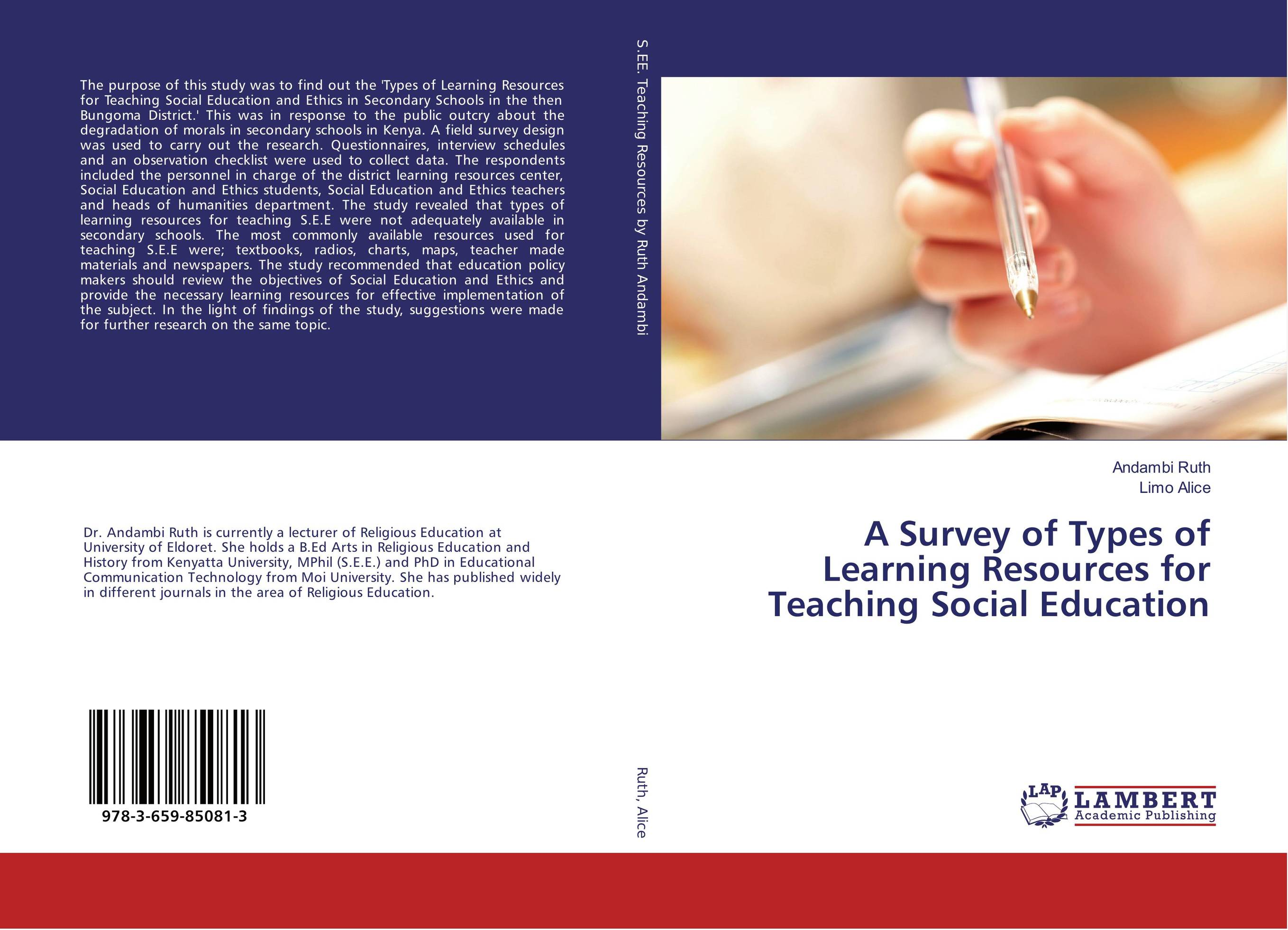 A Survey of Types of Learning Resources for Teaching Social Education learning resources набор пробей