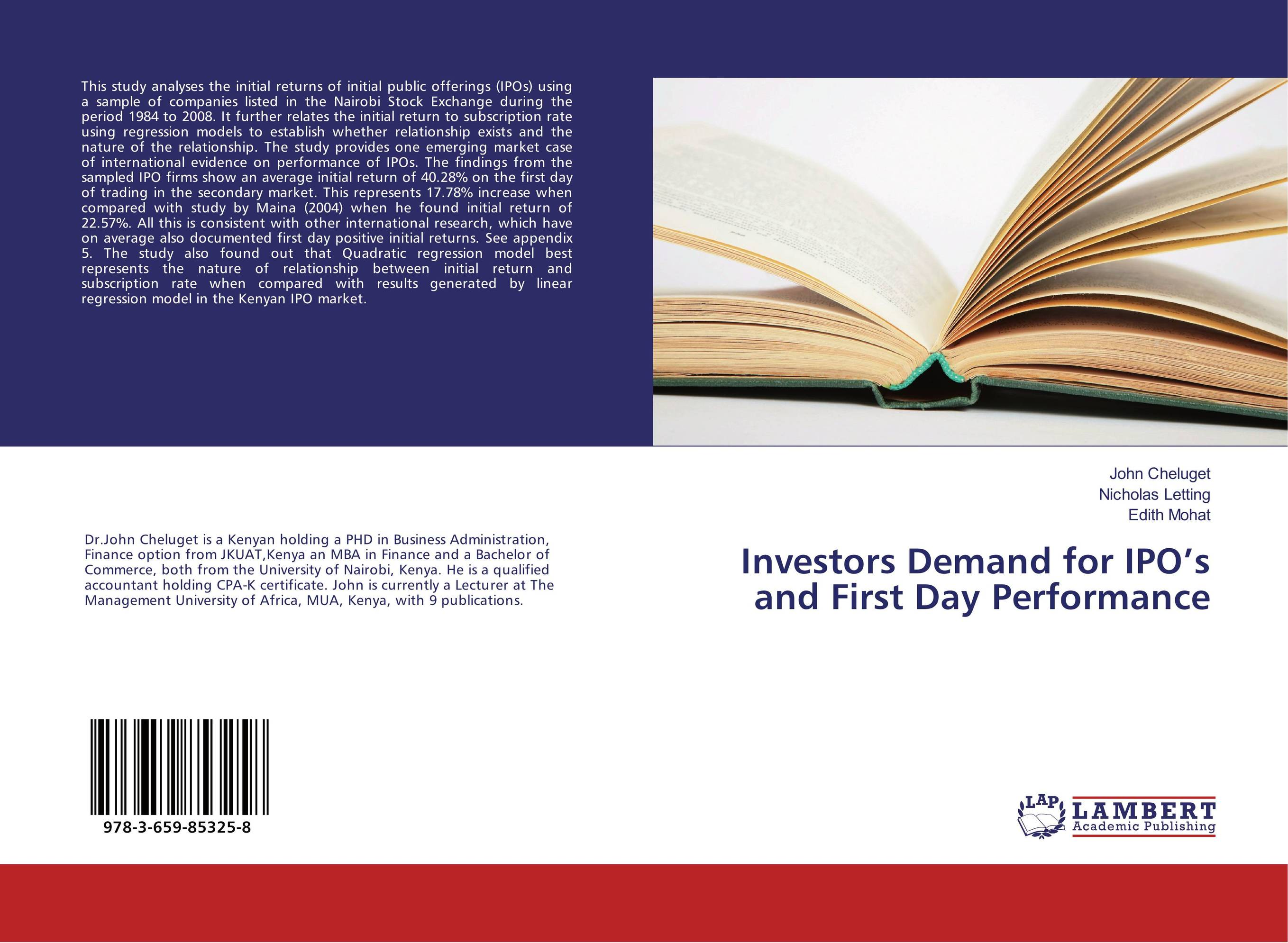 Investors Demand for IPO's and First Day Performance market day