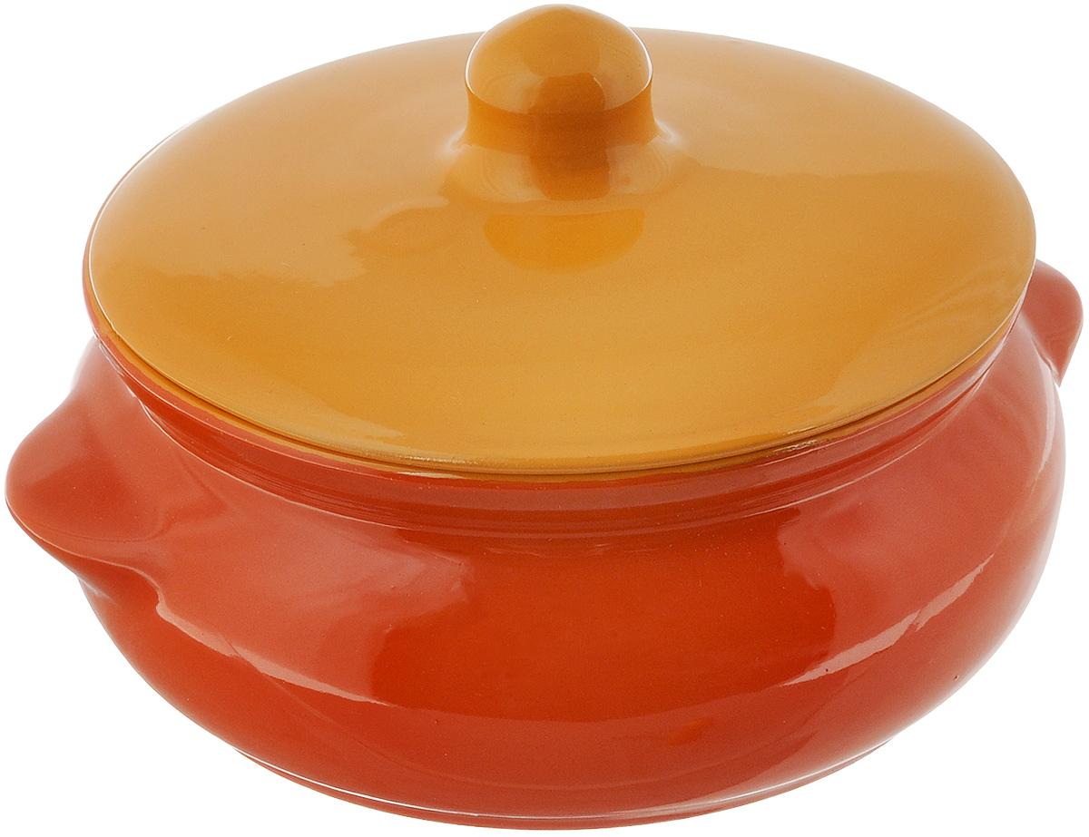 Горшок для запекания Борисовская керамика Радуга, с крышкой, цвет: оранжевый, желтый, 700 млРАД00000380_оранжевый, желтыйГоршок для запекания Борисовская керамика Радуга выполнен из высококачественной керамики. Уникальные свойства красной глины и толстые стенки изделия обеспечивают эффект русской печи при приготовлении блюд. Блюда, приготовленные в керамическом горшке, получаются нежными исочными. Вы сможете приготовить мясо, сделать томленые овощи и все это без капли масла. Этоодин из самых здоровых способов готовки. Можно использовать в духовке и микроволновой печи. Диаметр горшка (по верхнему краю): 15 см.Высота стенок: 7 см. Объем: 700 мл.