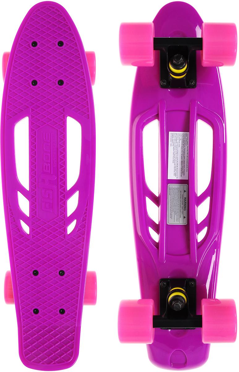 """Скейтборд пластиковый """"Fish"""", цвет: сиреневый, розовый, дека 56 х 15 см"""