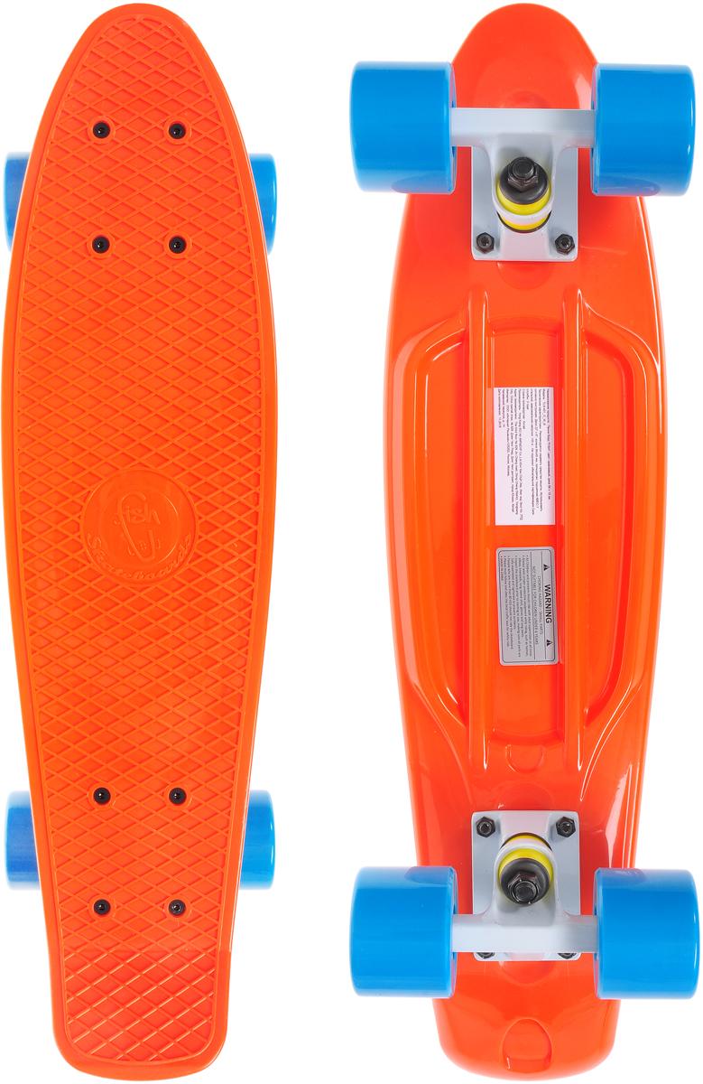 Скейтборд пластиковый Fish, цвет: оранжевый, голубой, дека 56 х 15 смTLS-401_O_W_BСкейтборд Fish подходит для начинающих райдеров. На нем можно кататься в парках, на улице, на площадках, с горок, вы можете добираться на нем до места работы или учебы. Несмотря на небольшие размеры, пенни развивает большую скорость и отлично лавирует. Доска имеет небольшую длину и маленький вес, поэтому ее можно убрать в рюкзак или сумку или нести в руках.Дека выполнена из высококачественного прочного пластика. Специальный выпуклый рисунок в виде сетки предотвращает скольжение ноги по ее поверхности. Подвеска выполнена из прочного алюминия. Полиуретановые колеса обеспечивают хорошее сцепление с поверхностью, быстрый разгон и торможение. Диаметр колеса: 6 см.Ширина колеса: 4,5 см.