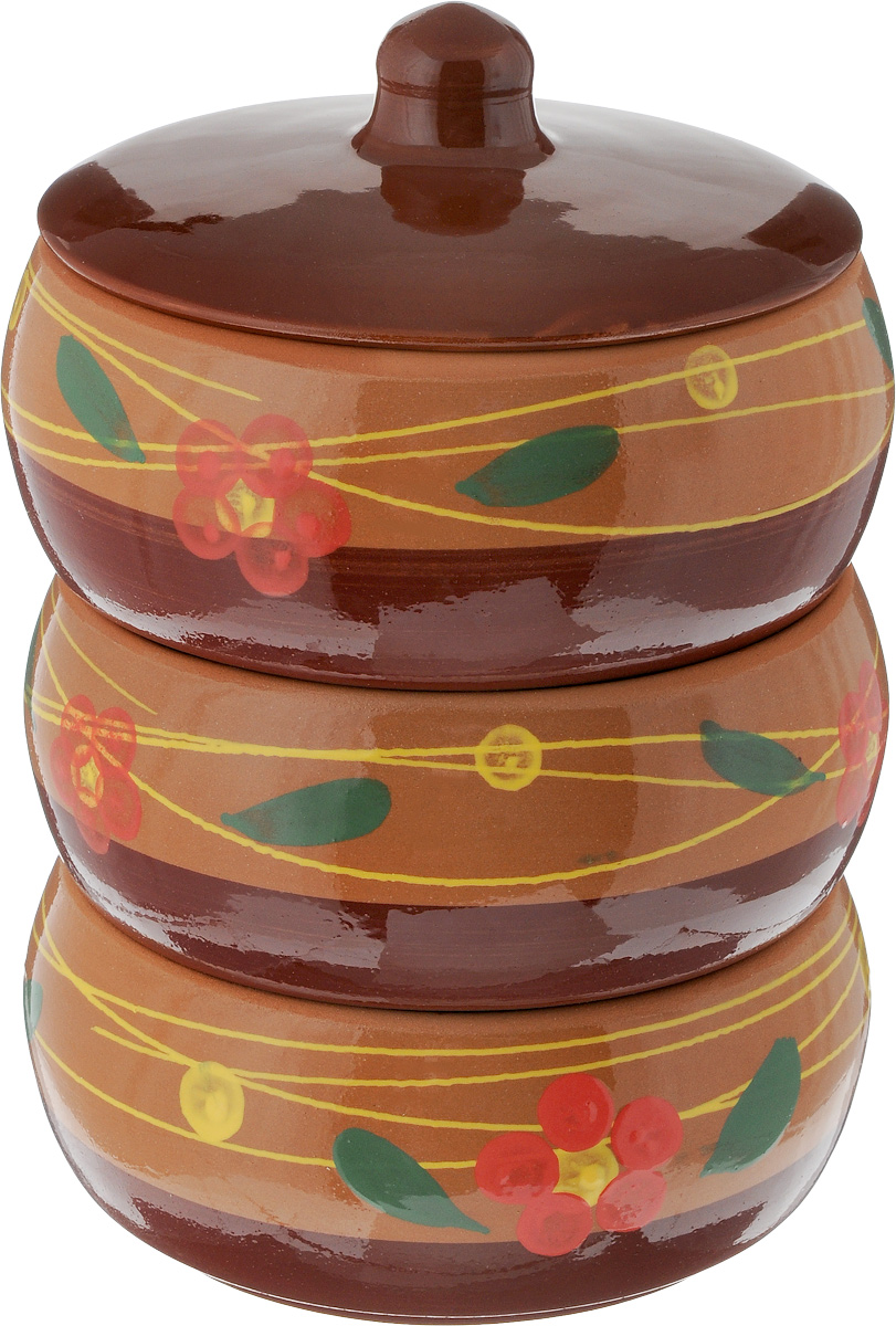 Набор блюд для холодца Борисовская керамика Русский, с крышкой, цвет: коричневый, светло-коричневый, розовый, 2,7 л, 3 шт