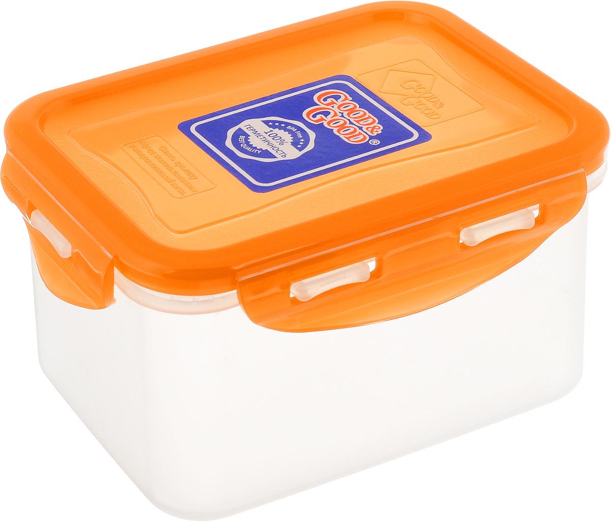 Контейнер пищевой Good&Good, цвет: прозрачный, оранжевый, 630 мл. B/COL 02-2B/COL 02-2Прямоугольный контейнер Good&Good изготовлен из высококачественного полипропилена и предназначен для хранения любых пищевых продуктов. Благодаря особым технологиям изготовления, лотки в течение времени службы не меняют цвет и не пропитываются запахами. Крышка с силиконовой вставкой герметично защелкивается специальным механизмом. Контейнер Good&Good удобен для ежедневного использования в быту.Можно мыть в посудомоечной машине и использовать в микроволновой печи.Размер контейнера (с учетом крышки): 13 х 10 х 8,5 см.