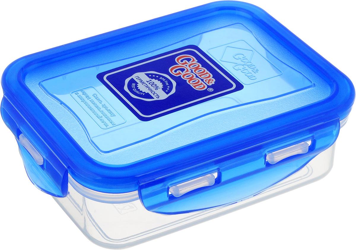 Контейнер пищевой Good&Good, цвет: прозрачный, синий, 330 млB/COL 02-1Прямоугольный контейнер Good&Good изготовлен из высококачественного полипропилена и предназначен для хранения любых пищевых продуктов. Благодаря особым технологиям изготовления, лоток в течение времени службы не меняет цвет и не пропитывается запахами. Крышка с силиконовой вставкой герметично защелкивается специальным механизмом. Контейнер Good&Good удобен для ежедневного использования в быту.Можно мыть в посудомоечной машине и использовать в микроволновой печи.Размер контейнера (с учетом крышки): 13 х 10 х 4,5 см.