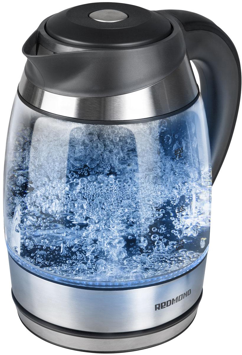 Redmond RK-G184D электрический чайникRK-G184DЭлектрический чайник Redmond RK-G184D — новая ультрастильная полупрозрачная модель, завораживающая своим внешним видом и своими возможностями. Этот кристально чистый прибор с разноцветной подсветкой, меняющейся в зависимости от температуры воды и эффектным корпусом из жаропрочного экономичного стекла впечатлит любого!Чайник RK-G184D с возможностью выбора температуры воды обладает вместительным объёмом 1,8 л, что идеально подойдёт для большой семьи. Высококачественный дисковый нагревательный элемент и возможность вращения устройства на 360° подарят дополнительный комфорт. Съёмный фильтр от накипи позволит наслаждаться более чистой водой.Redmond RK-G184D имеет важную функцию автоотключения при закипании, отсутствии воды и снятии с подставки. Дополнительно аппарат оснащён звуковым сигналом, срабатывающим при включении и отключении. Вы будете в восторге от своего нового чайника!