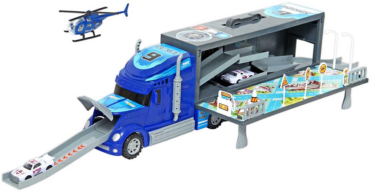 Drift Автотрейлер с машинами Парковка цвет синий машинки hti паровозик roadsterz синий с вагоном звуковыми и световыми эффектами