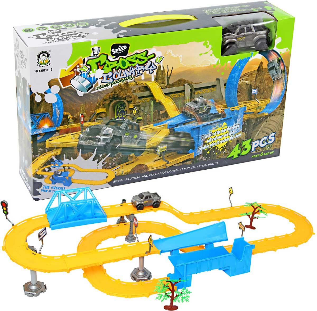 Veld-Co Трек цвет желтый голубой набор маленький трек с умной машинкой поли