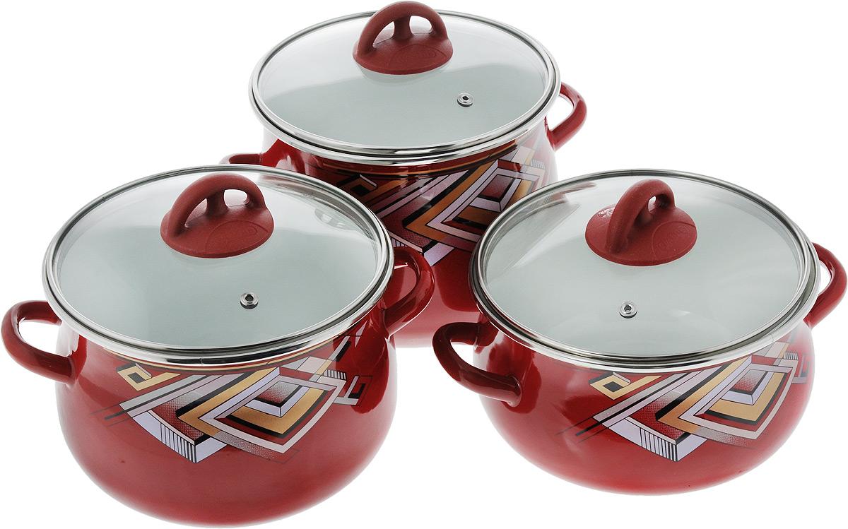 Набор кастрюль Эмаль  Пирамида  с крышками, 6 предметов. 5-306/6 - Посуда для приготовления