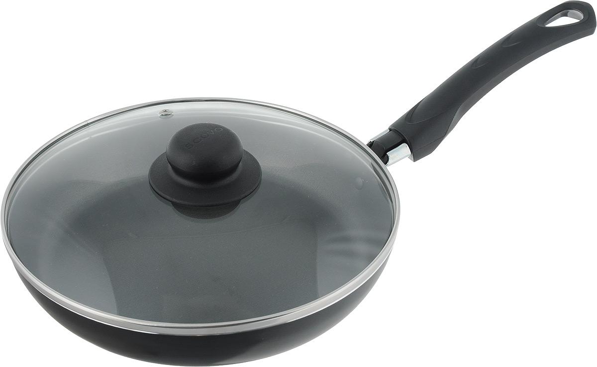 Сковорода Scovo Consul с крышкой, с антипригарным покрытием. Диаметр 24 смRC-009Сковорода Scovo Consul выполнена из алюминия с антипригарным покрытием. Такое покрытие исключает прилипание и пригорание пищи к поверхности посуды, обеспечивает легкость мытья посуды, исключает необходимость использования большого количества масла, что способствует приготовлению здоровой пищи с пониженной калорийностью. Сковорода безопасна для здоровья, так как не содержит PFOA, соединений свинца и кадмия. Изделие оснащено удобной пластиковой ручкой. Крышка, выполненная из термостойкого стекла, позволяет следить за процессом приготовления без потери тепла. Специальное отверстие для выхода пара предотвращает выкипание.Сковорода подходит для газовых, электрических и стеклокерамических плит. Можно мыть в посудомоечной машине. Длина ручки: 18,5 см.Высота стенки: 4 см.