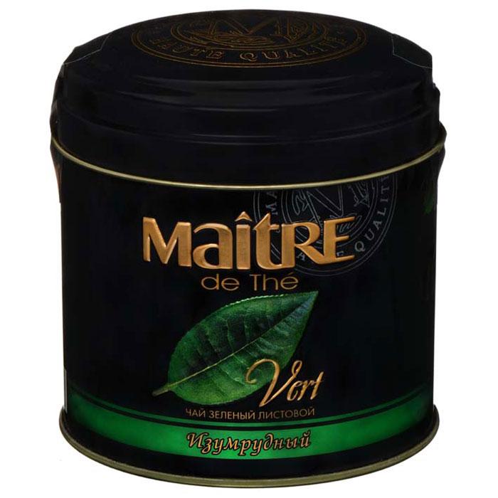 Maitre Изумрудный зеленый листовой чай, 100 г maitre de the де люкс зеленый листовой чай 65 г жестяная банка