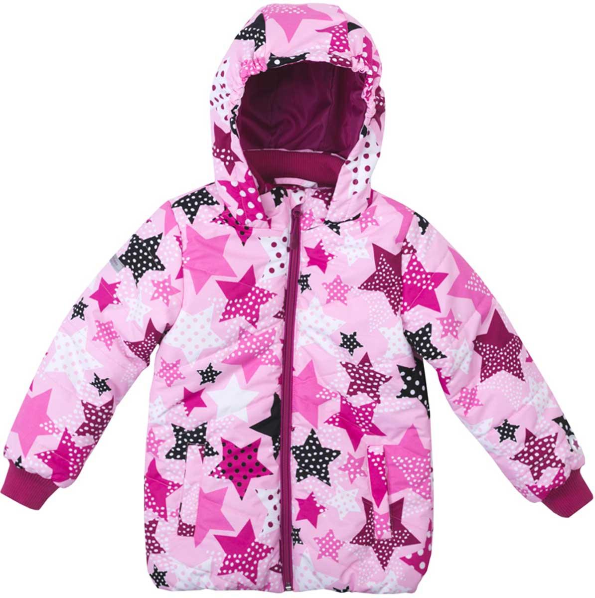 Куртка для девочки PlayToday, цвет: светло-розовый, розовый, белый, черный. 172051. Размер 110172051Яркая стильная утепленная куртка со специальной водоотталкивающей пропиткой защитит вашего ребенка в любую погоду! Мягкие трикотажные резинки на рукавах защитят вашего ребенка - ветер не сможет проникнуть под куртку. Специальный карман для фиксации застежки-молнии не позволит застежке травмировать нежную детскую кожу. За счет мягких резинок, капюшон не упадет с головы даже во время активных игр. Светоотражатели на рукаве и по низу изделия позволят видеть вашего ребенка даже в темное время суток.