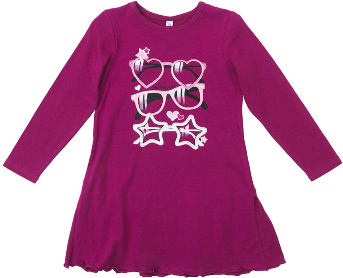 Платье для девочки PlayToday, цвет: розовый. 172071. Размер 122172071Платье PlayToday свободного кроя, с округлым вырезом у горловины, насыщенного цвета понравится вашей моднице. Свободный крой не сковывает движений. Приятная на ощупь ткань не раздражает нежную кожу ребенка. Яркий принт является эффектным дополнением данного изделия