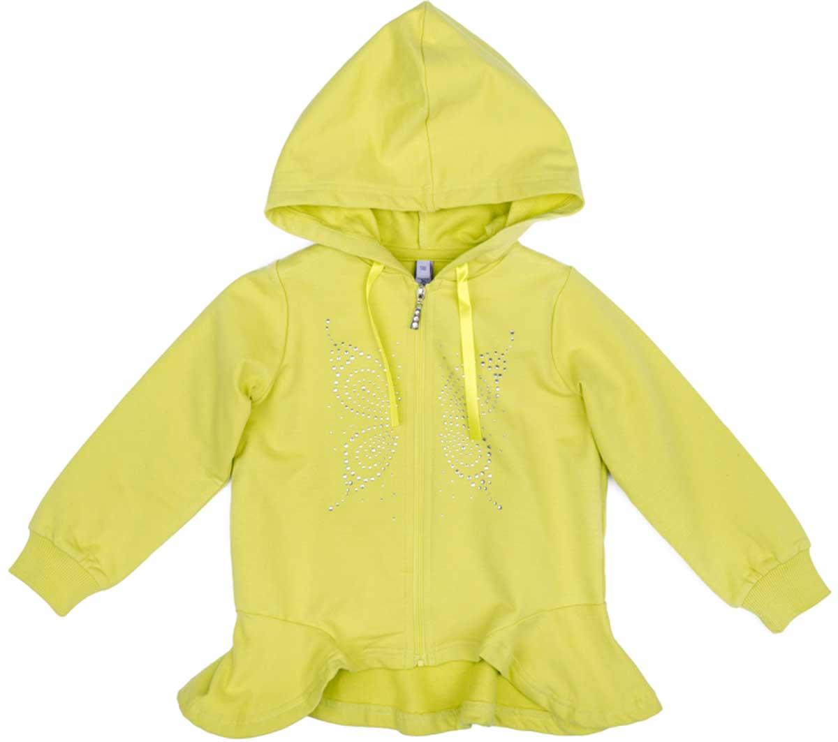 Толстовка для девочки PlayToday, цвет: светло-желтый. 172113. Размер 116172113Толстовка PlayToday из натурального материала на застежке - молнии прекрасно подойдет для прохладной погоды. Манжеты отделаны мягкими резинками. Необычный крой изделия понравится вашему ребенку. Модель с капюшоном, который регулируется шнуром - кулиской.