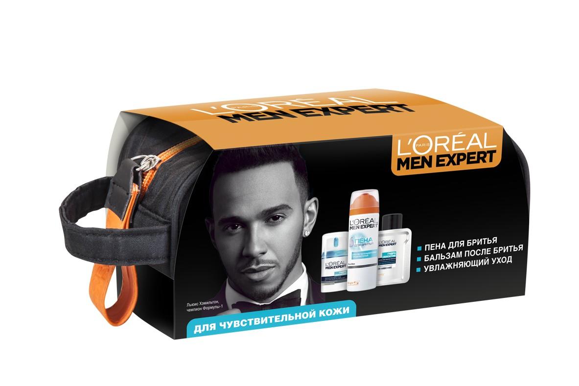 Набор L'Oreal Paris Men Expert  Гидра Сенситив  Пена для бритья, 200 мл (-50%) + Бальзам после бритья, 100 мл+ Увлажняющий уход для лица, 50 мл - Наборы
